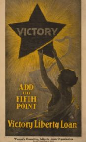 Add the fifth point--Victory Liberty Loan. Vintage American WW1 Poster.